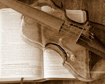 Bible, Violin, Religion, Wall Art, Home Decor, Book, Sepia