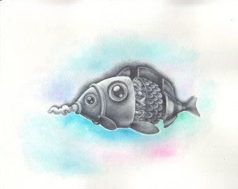 fish in a fish / mixmedia - {99}