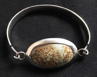 Retro Vintage Sterling Silver Shell Inlay Bracelet