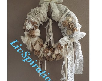 Vintage Chic-Wedding Wreath-Vintage Chic Wreaths-Pearls-Burlap-Lace-Vintage Chic Wreaths-Vintage Decor-Housewarming Wreath-Keys-Vintage Keys