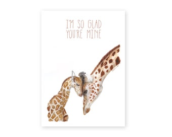 Giraffe Greeting Card, First Mothers Day, For Mom, Mother and Baby Giraffe, Moms Day Card, Mothers Day, Watercolor