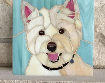 Custom Dog Portrait, Stained Glass Mosaic Pet Memorial