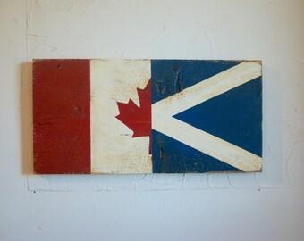 Half Canada Half Scotland Flag Wood Sign - Scotland sign - Canada sign - outdoor flag - Scottish flag - Canada flag - St. Andrew's Cross