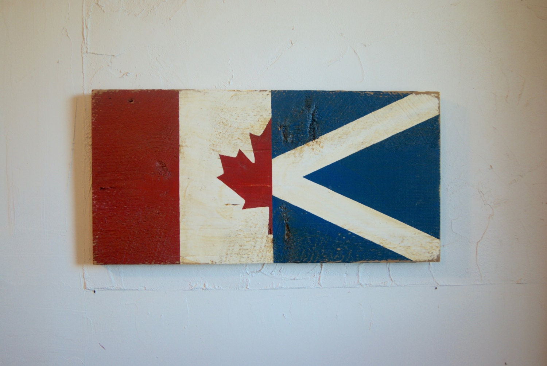 half canada half scotland flag wood sign scotland sign