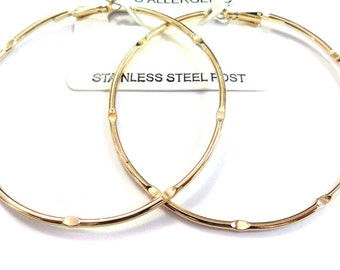 LARGE 2.75 inch Hoop Earrings Gold tone Hypo-allergenic hoops Fashion Hoops Stainless Steel Posts