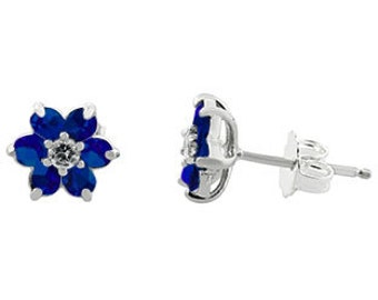 Blue Sapphire Gemstone Diamond Flower Stud Earrings In White Rose White Gold Silver September Birthstone Blue Sapphire Gemstone Gold Earring