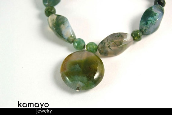 """MOSS AGATE BRACELET - Natural Light Green Moss Agate Pendant & Beads - Fits Wrist of Up to 5.8"""""""