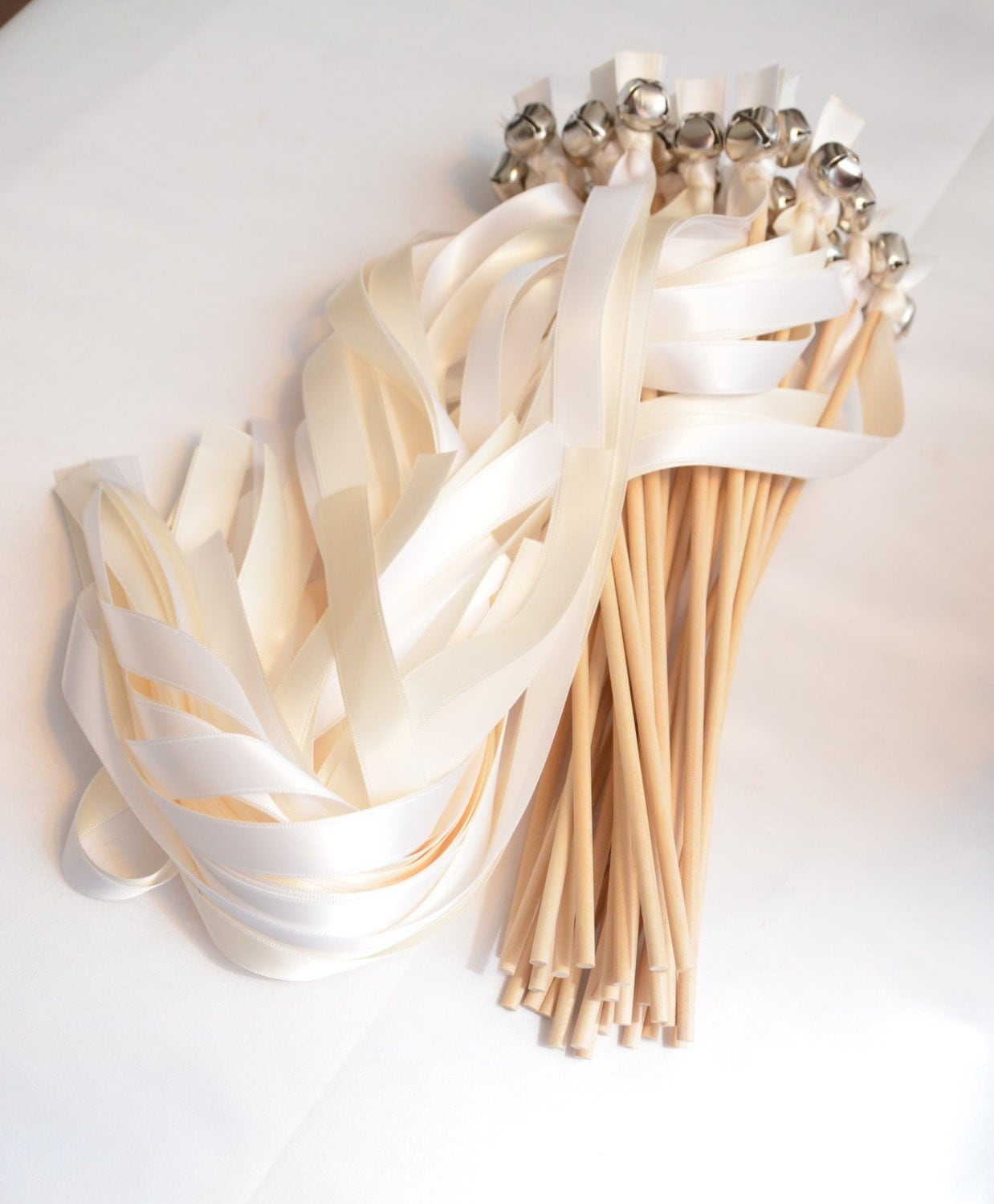 100 ribbon bell wands wedding ceremony send off bells for Wedding wands