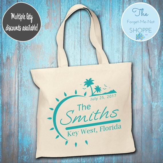 Beach Canvas Tote Bags, Bachelorette Totes, Nautical Bachelorette, Wedding Favor Bags, Tropical, Married, Gifts, Favors