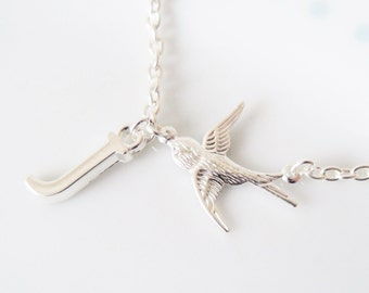Cute Tiny Swallow & Initial Charm Chain Silver Necklace, Bird, Sparrow, Dainty, Personaized, Personalised, Letter,Pretty, Simple, Minimalist