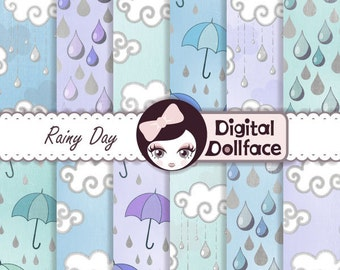 Rain Cloud Digital Paper, Rainy Day / April Showers, Digital paper Products: Blue, Purple, Green and Silver