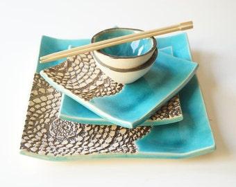 Sushi Serving Plates, Set for 2, Turquoise Sushi Set, Ceramic Sushi Plates, Housewares, Ceramics and Pottery, Serving Tray, Sushi Serving