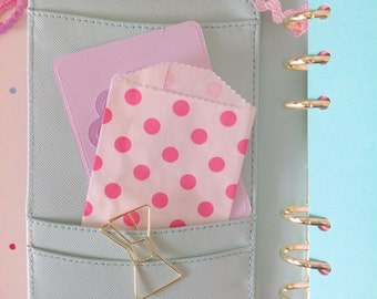 25 bright pink itty bitty paper polka dot bags
