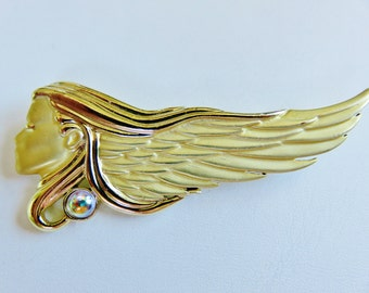 Rare AJC Art Nouveau Woman With Flowing Hair Brooch Pin