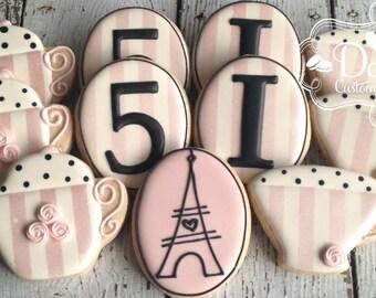 Paris Parisian Tea Party Birthday Cookies
