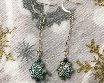 Long Teal Blue Ceramic Snowflake Earrings