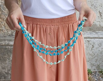 NEW! Crochet Summer Accessory 3 in 1: necklace, bracelet, headband. Flowers cotton jewelry.