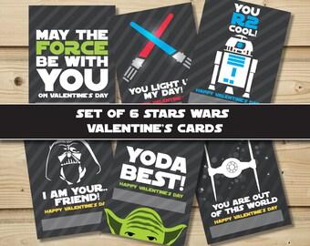 Set of 6 Star Wars Valentine's Cards- Printable