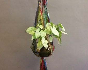 Plant Hanger, Decorative. Made From Re-Purposed Silk Sari Yarn Ribbon. Macrame Knots. Vintage Green Glass Bowl.