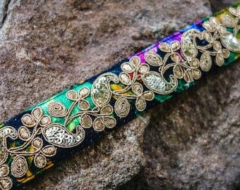 Golden metalic thread on black and multi colours silk velvet fabric trim