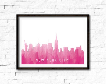 Printable Wall Art - New York City Skyline Silhouette, Pink - Instant Download