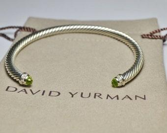 David Yurman Sterling Silver 5mm Cable Classics Bracelet with Peridot and Diamonds