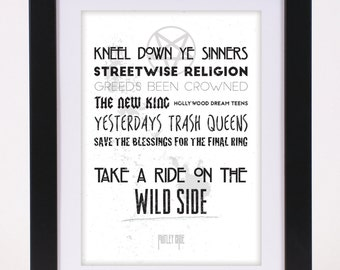 Motley Crue 'Wild Side' Printed Lyrics Poster - available in A4 and A3 // Gift Ideas // Rock // Typography // Nikki Sixx