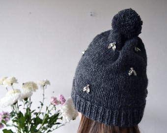 DIAMOND FLIES/ hand knitted grey color hat with fly shaped rhinestone decoration modern knits fashion trends