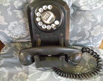 VintageTelephone,  Wall Phone, 1940's, dial phone,Black, Bakelite