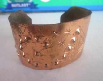 Vintage Native American Style Large Copper Cuff Bracelet