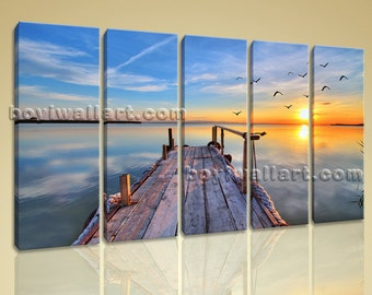 Amazing Sunset Glow Picture HD Print Landscape Large Canvas Wall Art Modern, Large Sunset Wall Art, Dining Room, Nobel