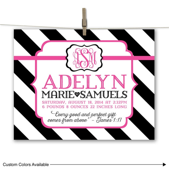 custom baby announcement wall art hot pink and black birth