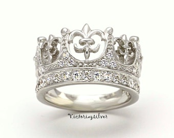 Sterling Silver Crown Ring With Stones,Silver Tiara,Silver Ring,Fleur De Lis