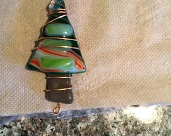 Wire wrapped fused glass ornament