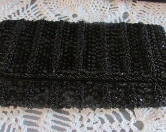 Vintage Delill Black Beaded Wallet/ Clutch