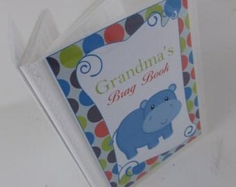 Baby Photo Album Blue Hippo Baby shower gift personalized boy photo book 4x6 5x7 214b