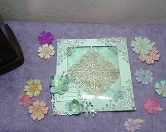 Custom Colors Wedding Card/Glow in the Dark Greeting CardLace Shadow Box Wedding Card Custom Colors Available/Custom Greeting