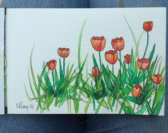 Hand-Painted Postcard, Tulips