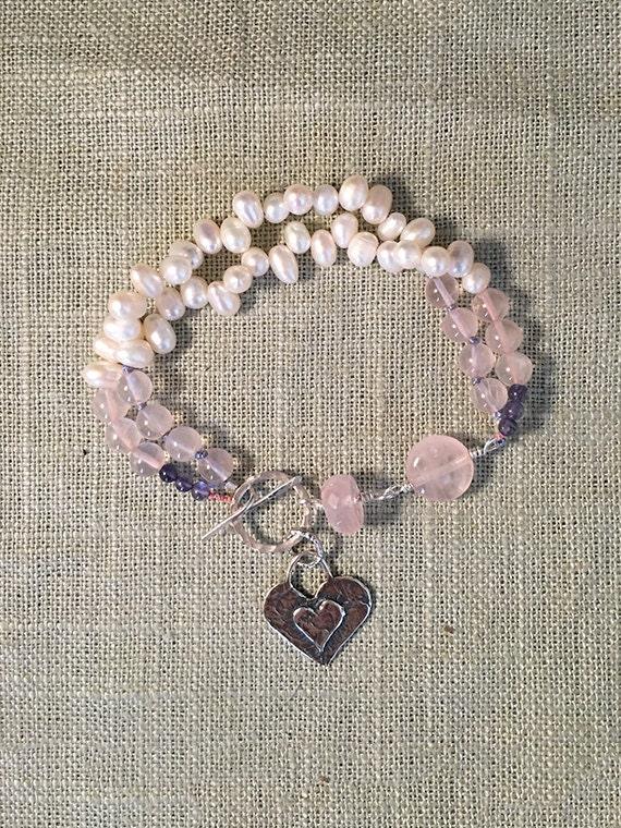 Rose Quarts, Tanzanite, Pearl & Silver Heart Charm Gemstone Bracelet, Valentine's Day Gift