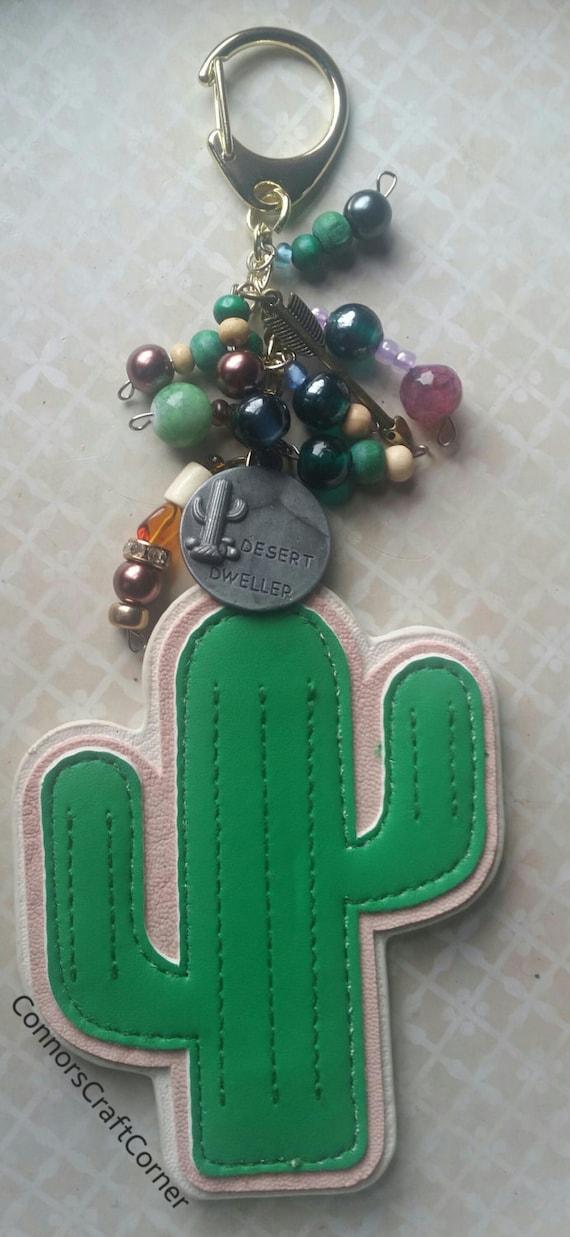cactus bag charm purse charm bookbag charm zipper pull