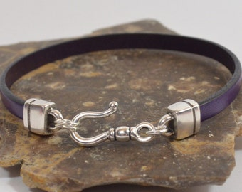 Crohn's Disease Awareness Bracelet - Purple 5mm Flat Leather Bracelet with Antique Silver Hook Clasp (5-350)