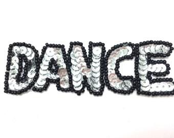 """Dance Word Applique, Sequin Beaded, 1.25"""" x 2.5""""  -4800"""