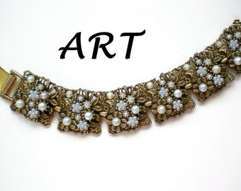 Metal and Faux Pearl Link Bracelet by ART - 4477