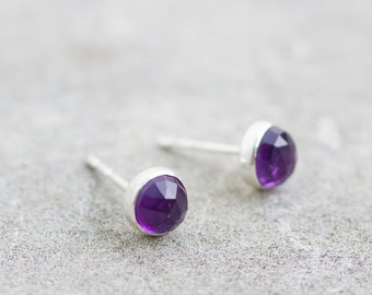 Minimalistic stud earrings with African Amethyst, sterling silver