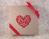 "Red Floral Heart Embossed Jewelry Gift Box, 4"" x 4"" x 1"" Embossed Gift Box, Jewelry Gift Wrap, Valentines Day"