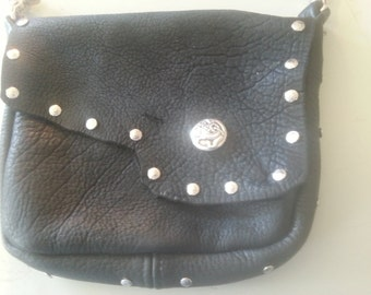 Black buffalo hide pouch
