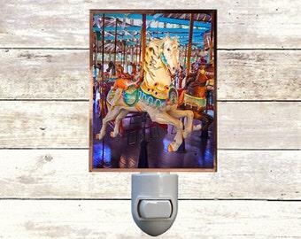 Baby Night Light Handmade Art Newborn Gift Nursery Art Lighting Carousel 5 Horses Nitelite  Flying Horses Baby Gift Baby Decor Nursey Art