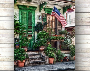FLAG HOUSE New Orleans Art French Quarter Doors Architecture Door Photography Historic Cottages American Flag New Orleans Photography