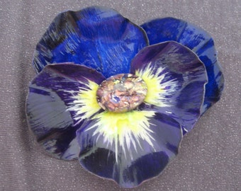 Flower Brooch, flower jewelry, Large brooch,  blue jewelry, blue brooch, pansy brooch, pansy jewelry, statement brooch, statement jewelry