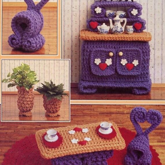 vintage crochet pattern pdf fashion doll home decor house furniture breakfast room from. Black Bedroom Furniture Sets. Home Design Ideas